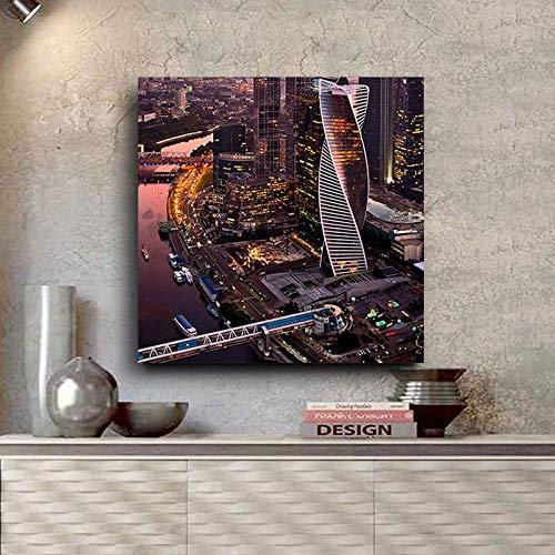 Moskou Business Landschap Muur Pop Art Canvas Posters En Prints Nordic Muurfoto Voor Woonkamer D 75x75cm Geen lijst