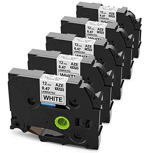 Anycolor kompatible Schriftband als Ersatz für Brother TZe-231 laminated 12mm 0.47 Etiketten für Brother P-touch 1000W 1830 1010 H105 D200 D400VP D600VP, schwarz auf weiß, 5er-Pack