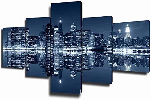 Looaceo Cuadro En Lienzo Sala De Estar Imagen Impresa En Hd 5 Paneles Lienzo Manhattan Paintings Estados Unidos Paisaje Urbano 5 Piezas Lienzo Arte De La Pared Arte Mo 78,7 * 39 pulgadas 200 * 100 cm