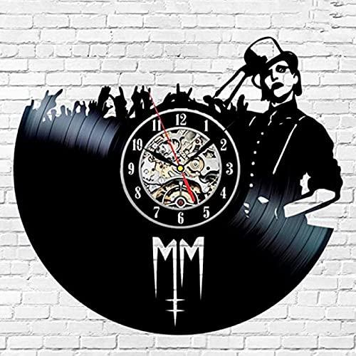 SHILLPS Horloge Mural Marilyn Manson Vinyl Record Wall Clock Design Music Rock Band Vintage CD Clocks Watch Home Decor Silent 12 inch NO LED