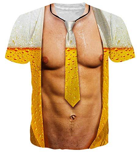 Spreadhoodie Hombres Camiseta 3D Músculo Pectoral Patrones Impresos O-Cuello Manga Corta Cerveza Camiseta Divertidas T Shirt Tops M