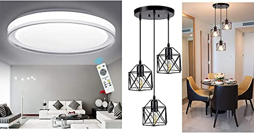 lowest DLLT 48W Modern Dimmable Led Ceiling Light wholesale with Remote and 3-Light Vintage Pendant Light, for Bedroom/Living Room/Dining Room/Hallway/Kitchen outlet sale Lighting sale