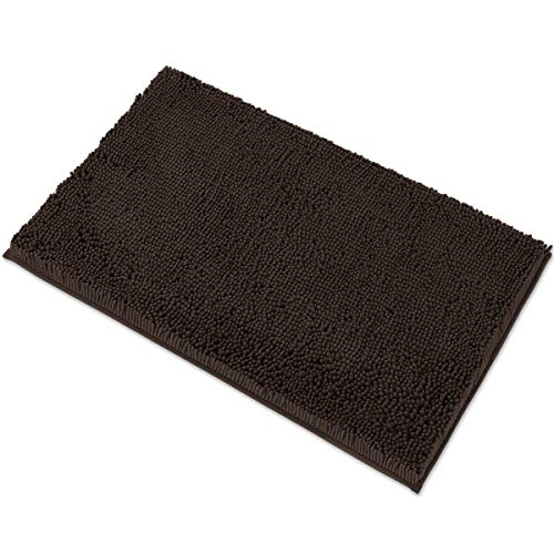 """MAYSHINE Chenille Bath Mat for Bathroom Rugs 32"""" x20"""" , Extra Soft and Absorbent Microfiber Shag Rug, Machine Wash Dry- Perfect Plush Carpet Mats for Tub, Shower, and Room- Brown"""