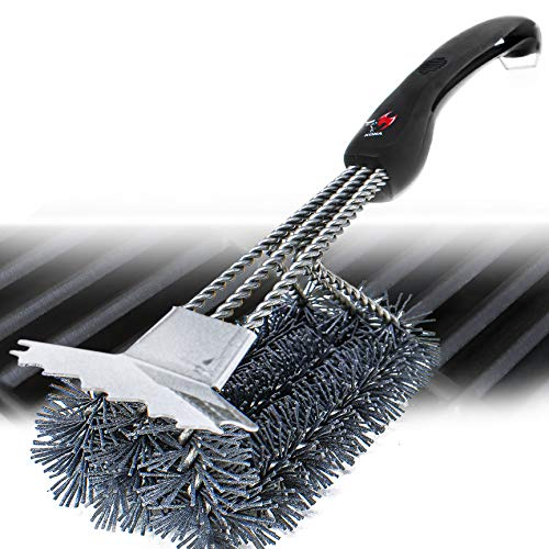 Kona Nylon Grill Brush and Scraper - Ceramic Infused Bristles, Compatible with Traeger and All Pellet Grills & Smokers - Non Metal Bristle Free Grill Cleaner