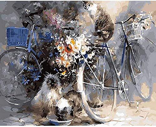 MSQRP Puzzle Adulto 1000 Piezas Rompecabezas de Madera Juguetes Gato de Bicicleta Puzzle de Paisajes Niños y Adultos Puzzle de Cartón Juegos Educativos Juego Familiar