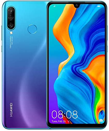 "Huawei P30 Lite (128GB, 4GB RAM) 6.15"" Display, AI Triple Camera, 32MP Selfie, Dual SIM GSM Factory Unlocked MAR-LX3A - US & Global 4G LTE International Version (Peacock Blue, 128GB + 64GB SD Bundle)"