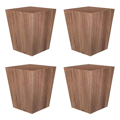 Suncast 16 Inch Farmington Rustic Wood Finish Garden Planter, Brown (4 Pack)
