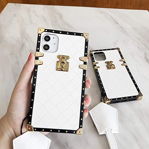 Fashion TPU Leather Square Trunk Case for iPhone 6/6 Plus/iPhone 7/7 Plus/iPhone 8/8 Plus/iPhone X/Xs/XR/Xs Max Flexible Cover Shockproof Protection Case (White, iPhone 7 Plus/ 8 Plus)