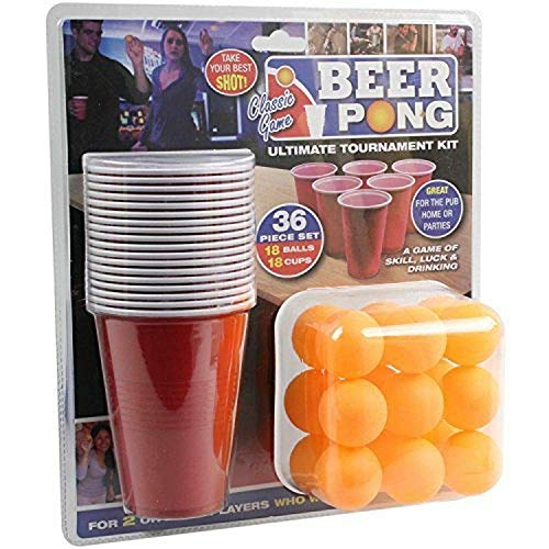 PMS 619028 36-teiliges Beer Pong Set in Doppelblister rot