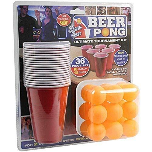 PMS 61902836PC Beer Pong Set in Doppio Blister, Rosso