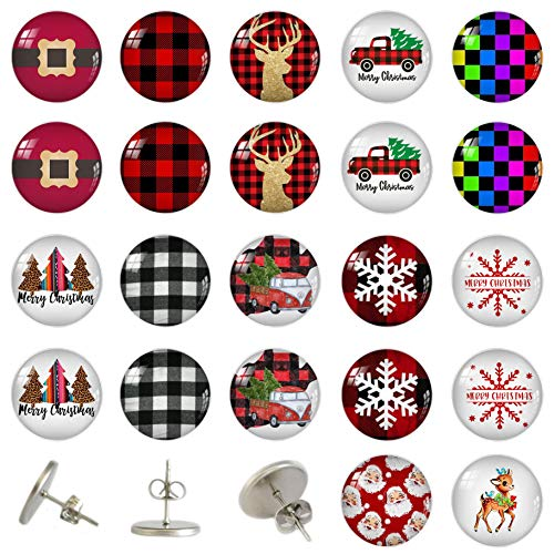 Christmas Tree Elk Snowflake Stainless Steel Stud Earring (12 Pairs)