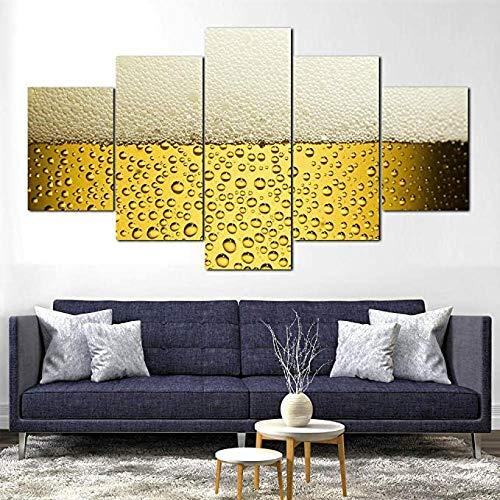 Vidrio cerveza espuma alcohol fresco 5 piezas Panel lienzo pared arte impresiones Decoración del hogar Listo para colgar marco Creativo Marco de madera Regalo