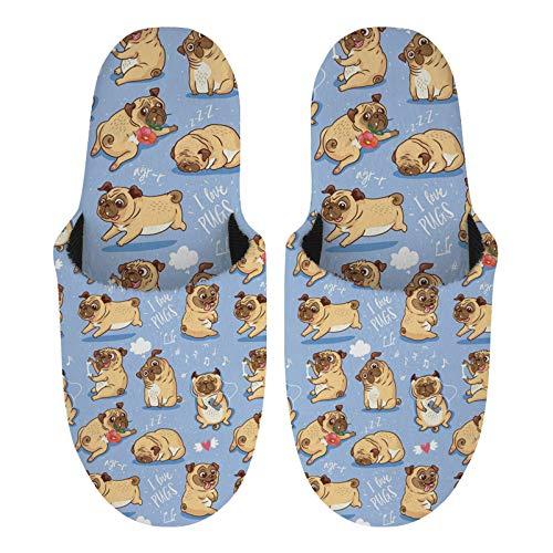 Showudesigns Warme Hausschuhe Frauen Komfort Fuzzy Home Indoor Schuhe Plüsch Damen Slipper mit rutschfester Sohle Slip On Hausschuhe, Blau - Mops Hund süß - Größe: Large