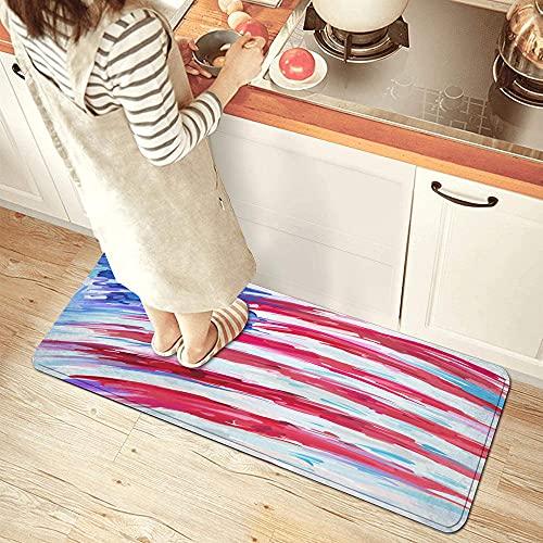 NINEHASA Alfombra de Cocina,Estados Unidos Bandera Abstracta Pintura al óleo sobre Lienzo Arte Vectorial,Lavable Antideslizante Alfombrilla de Goma Alfombra de Baño Alfombrillas Cocina