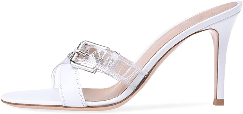 Donna Tacco alto Seali PVC Attraversare PU Fibbia Tacco alto Se Drag Moda Viaggio Vestito Pantofole (Altezza Tacco  10 cm)