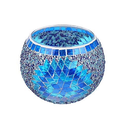 Uonlytech Mosaic Glass Candle Holder Handmade Romantic Glass Tealight Holder Candlestick for Home Restaurant Decoration without Candle (Blue)