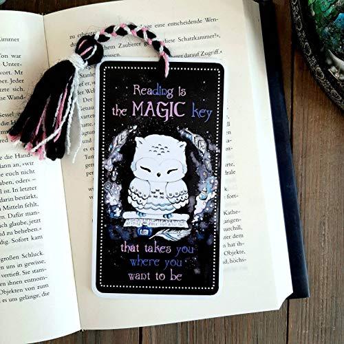 Lesezeichen Eule - Magic Owl - Handmade - Spruch - Magie - Fantasy - Harry Potter - Bookmark - Geschenk