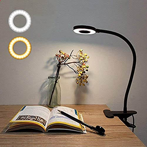 Lámpara Escritorio LED, Lypumso 2 Modos Ajustables Luz Mesa Lectura con Pinza, Blanco Frío/Cálido, 360 °Cuello Flexible, Protección Ocular, Ahorro de Energía, Negro