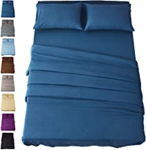 SONORO KATE Bed Sheet Set Super Soft Microfiber 1800 Thread Count Luxury Egyptian Sheets 16-Inch Deep Pocket Wrinkle and Hypoallergenic-4 Piece(Queen, Navy Blue)