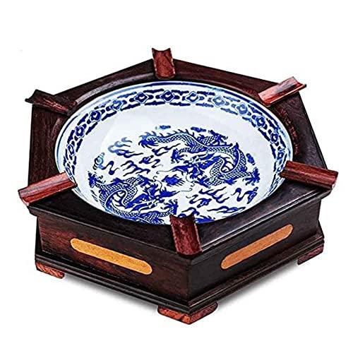 YQWYS Cenicero de Madera Maciza de Porcelana Azul y Blanca con Incrustaciones cerámicas,Brown