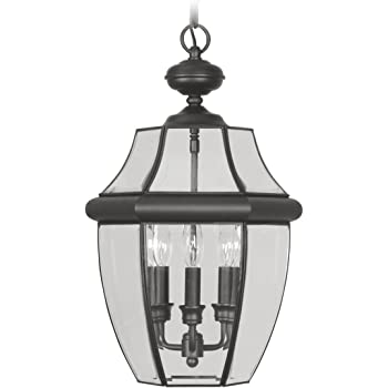 Livex Lighting 2255-04 Monterey 2 Light Outdoor Black Finish Solid Brass Hanging Lantern with Clear Beveled Glass
