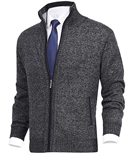 MACHLAB Men's Casual Cardigan Sweaters Slim Fit Fleece Full Zip Thick Knitted Cardigan Winter Outwear Dark Grey#1383 2XL