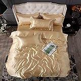 Bedding-LZ -Verano Hielo Seda Cama de Cuatro Piezas Solo Hielo Fresco Seda simulación de Seda Estudiante Dormitorio Familia Hotel-GRAMO_Cama de 2.0m (4 Piezas)