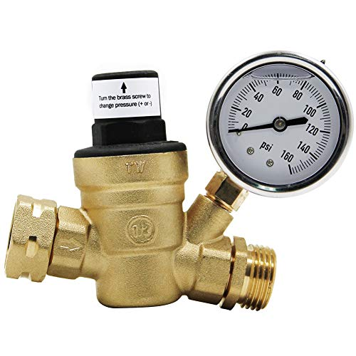 Twinkle Star RV Water Pressure Regulator Valve with Gauge and Inlet Screened Filter for Camper Travel Trailer Mississippi