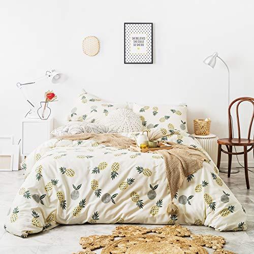 YuHeGuoJi 3-teiliges Bettbezug-Set, 100 % Baumwolle, beige, King-Size, gelbe Ananas-Bettwäsche-Set, 1 Bettbezug mit Reißverschluss, 2 Kissenbezügen, luxuriös, weich, atmungsaktiv, leicht