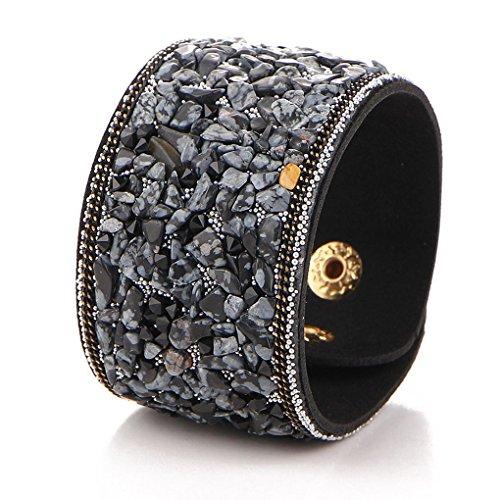 Pulsera brazalete de las mujeres del estilo punk ancho cristalino de cuero natural pulseras Grava