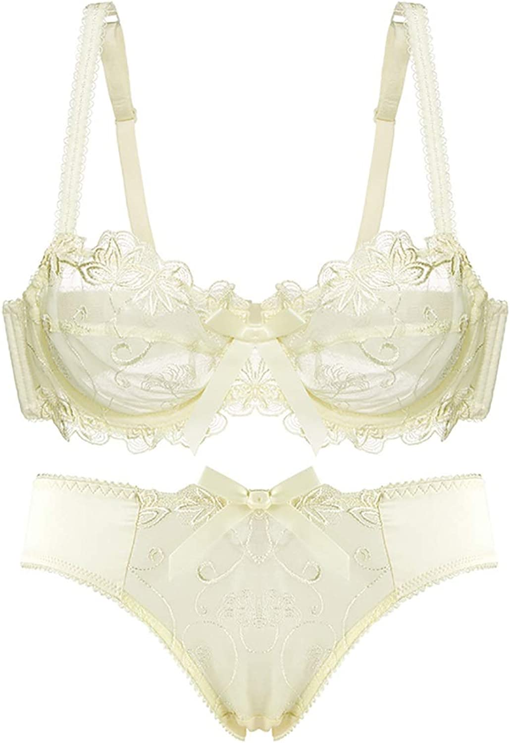 Perfect Home Lingerie Suit Sexy Gathered French Thin lace Embroidered Perspective Bra, with Steel Ring, Adjustable Chest, Three Rows and Two Buckles. Fashion (color   Yellow, Size   70B=30B=65B)