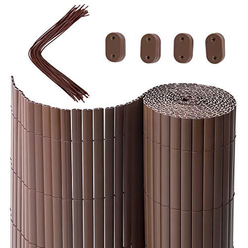 SONGMICS PVC Sichtschutzmatte, 4 x 0,9 m (L x B), Balkonverkleidung, Sichtschutzzaun, Balkonumrandung, Blende mit verstärkten Lamellen, Garten, Balkon, Terrasse, Outdoor, Braun GPF094B