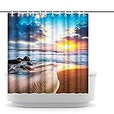 Artsbay Ocean Beach Duschvorhang Hawaii Sonnenuntergang Sonnenaufgang Stoff Wasserdicht Badezimmer Vorhang Set Meereslandschaft Badvorhang mit Haken Kostüm Dekor