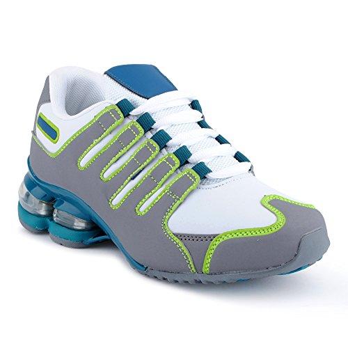 Fusskleidung Herren Damen Sportschuhe Dämpfung Neon Laufschuhe Gym Sneaker Unisex Weiss Grau Grün EU 38