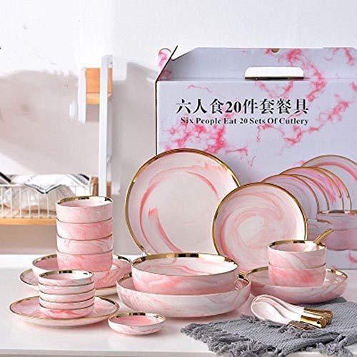 HGTZ 6 Personen Set Rosa Marmor Keramik Geschirr Reis Salat Nudeln Schüssel Suppenteller Geschirr Sets Geschirr Küche Kochwerkzeug