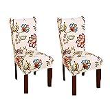 YoungYuan Fundas sillas de Comedor Cubre sillas Comedor Fundas para sillas para Comedor Almohadillas para sillas de Comedor Fundas de Silla de fácil Ajuste Set of 2,Red