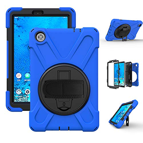Case for Lenovo Tab M8, 360 Rotating Heavy Duty Three Layer Armor Shockproof Rugged Protective Cover for Lenovo Tab M8 8 Inch with Kickstand, Blue