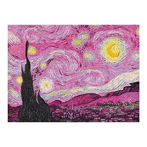 Houten puzzel 500 STKS voor volwassenen en kinderen, wereldberoemde schilderij roze sterrennacht moeilijke uitdaging…