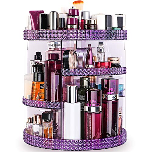 Famitree Rotating Makeup Organizer,Acrylic Clear Perfume Organizer,7 Adjustable Layers Large Capacity Cosmetic Carousel,Fits Different Cosmetics for Vanity and Bathroom - Plus Size(Purple)