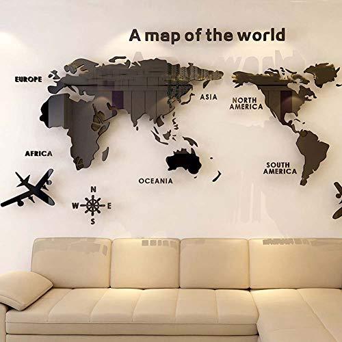 Fumaker Wall Sticker 3D World Map Acrilico Decorativo per Soggiorno Camera da Letto della Decorazione Dell'ufficio Wall Sticker Home Decor,Nero,XXL
