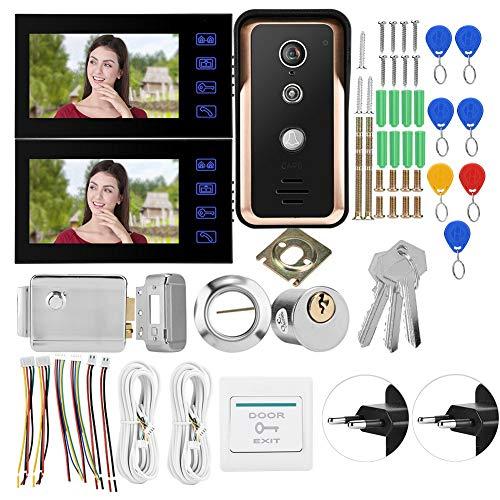 【Especial de Año Nuevo 2021】Taidda Videoportero, Intercomunicador de Video con Cable de 7 Pulgadas cámara IR RFID de 2 monitores Intercomunicador de Video con Cable de 7 Pulgadas con Bloqueo de Contro