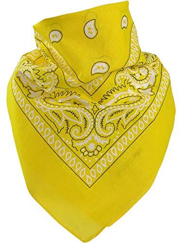 Harrys-Collection Unisex Bandana Bindetuch 100% Baumwolle (1 er 6 er oder 12 er Pack), Farbe:hellgelb