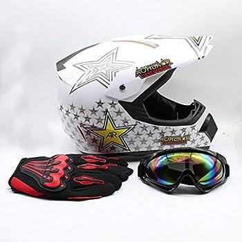 Adult Motocross Helmet Dirt Bike ATV Motorcycle Helmet Road Downhill Motorbike Full Face Helmets Gift MTB Racing Helmet Protector Muti-Color Helmet Set w/Goggles 3 Size/M