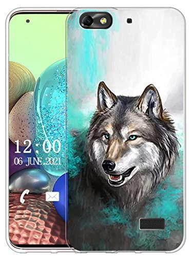 Sunrive Cover compatibile con Honor 4C/Huawei G Play Mini,Sunrive Custodia Case in molle Trasparente silicone Morbida Flessibile Antigraffio protettiva back custodie(X Lupo 1)