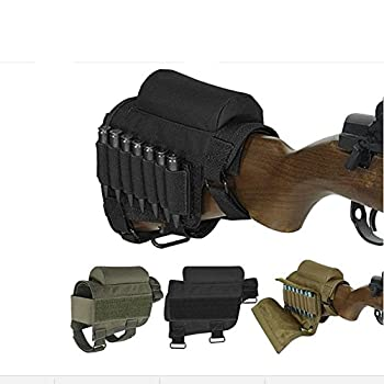 Wsobue Rifle Buttstock Hunting Shooting Tactical Cheek Rest Pad Ammo Pouch with 7 Shells Holder