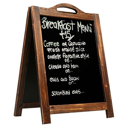 MyGift Large Rustic Style A-Frame Chalkboard Sign, 2-Sided Sidewalk Sandwich Board, Dark Brown