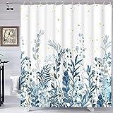 Blau & Grau Duschvorhang, Blumen Duschvorhang mit 12 Haken, Blaugrün Pflanze Duschvorhang, Botanische Natur Blatt Duschvorhang Wasserdicht Duschvorhänge für Badezimmer