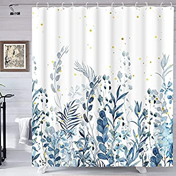 Blue and Grey Shower Curtain Floral Shower Curtain with 12 Hooks Teal Plant Shower Curtain Botanical Nature Leaf Shower Curtain Waterproof Shower Curtains for Bathroom