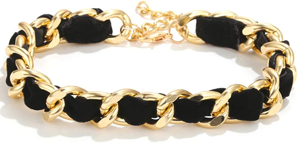 ALAIX Women's Gold Chain Choker Necklace Weave Chain Link Decorated with Suede Strap Choker Cool Hiphop Rock Style Choker for Women Teen girls