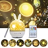 Lámpara Proyector Estrellas, Proyector Bebe Luz de noche Regulable con control remoto IR ,Conejos 360° Rotación Músic Lampara para regalo de cumpleaños